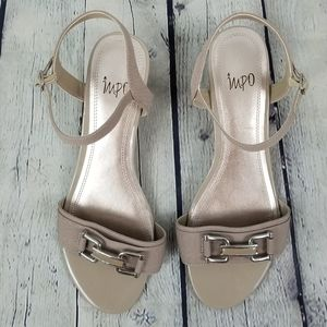 IMPO | nude ankle strap open toe wedge sandal